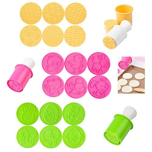 Stampi Biscotti,Qiundar 18 Pezzi Formine Biscotti Plastica Timbro Biscotti Tagliabiscotti Cookie Cutter Set,per DIY Cucina Decorazioni