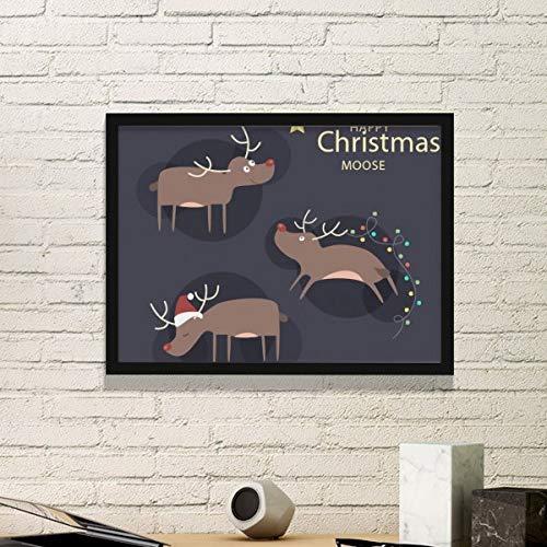 DIYthinker Kerstmis Rendier Moose Patroon Eenvoudige fotolijst Kunst Prints Schilderijen Thuis Muursticker Gift