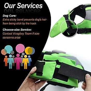 VIVAGLORY Réglable Réfléchissante Gilet de Sauvetage pour Chien Gilet de Sauvetage pour Chiens avec Flotteur Frontal Amovible, Vert Brillant, XS
