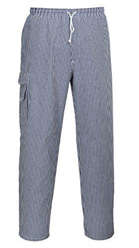 Portwest Chester, Kochhose, Bäckerhose, Arbeitshose, Kochbekleidung, (XL, blau-weiß/kariert)