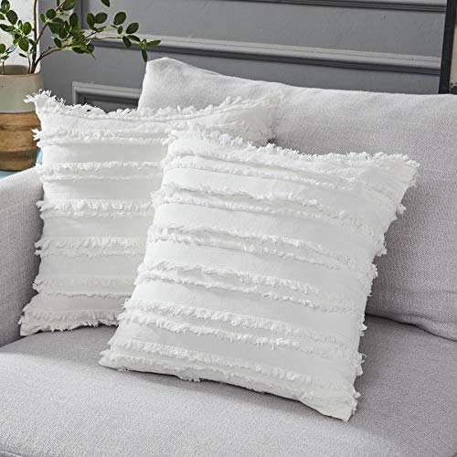 decorative pillows Longhui bedding Ivory White Throw Pillow Covers for Couch Sofa Chair, Cotton Linen Decorative Pillows Cushion Covers, 18 x 18 inches, Set of 2, No Inserts