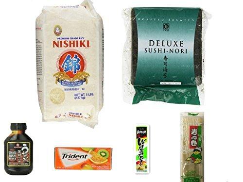 Sushi Kit Including Sushi Rice 5 LB, Sushi Nori, Wasabi , Unagi Sushi Sauce ,Sushi mat, Trident Gum 18 sticks by goodboy