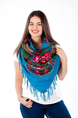 Große Stilvolles Schal-Tuch mit schönem,slawische Folklore Muster Winter 2016 Hellblau