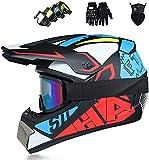 DDH Cascos de Motocross, Ciclismo Adulto Casco de Cara Completa, Terrain Cascos de Suciedad para BMX MTB ATV Scooter Niños Jóvenes Casco de Bicicleta (Gafas, Guantes, Máscara)-Red and Blue League||XL