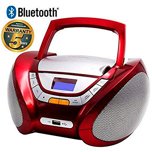 Lauson CP449 Boombox Bluetooth CD Portatile USB | Lettore CD per Bambini | Stereo | Boombox Con Pratica Maniglia | CD/MP3 Player Portatili con Bluetooth | AUX IN | LCD-Display (Rosso Bluetooth)