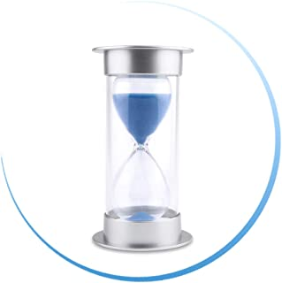 Hourglass Sand Timer 3/5/10/15/30 Minutes Sandglass Clock Timer for Kitchen, Home, Office, Classroom, Desk, Kids Games, Art Decorative (10 Minutes, Blue)