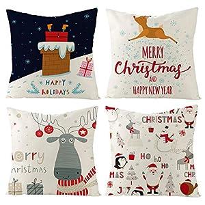 Gspirit Navidad Cojines Sofas 4 Pack algodón Lino Funda Cojines Funda de Almohada para Cojín 45x45 cm(5) | DeHippies.com