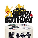 Rock and Roll Music Cake Topper Happy Birthday Sign Cake Decorations for Drums Guitar Musical Notes Player Rock Lets Party Themed Birthday Party Supplies Glitter Black Décor