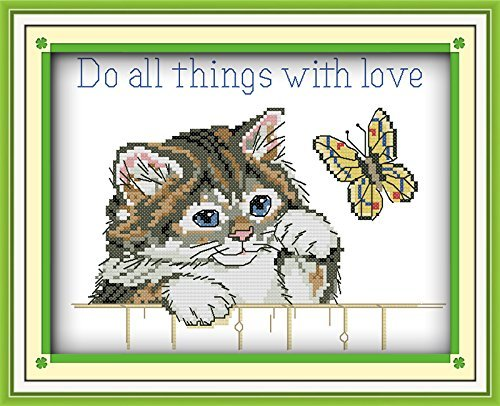 Happy Forever Cross Stitch, animal cat and butterfly, Do all things with love