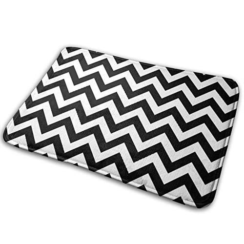 "Microfiber Bath Mat Rug,Modern Black and White Zig ZAG Pattern,Bathroom Rugs Carpet Non Slip,29.5"" X 17.5"""