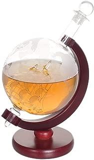 NEX Whiskey Decanter Globe, Etched World Globe Decanter, Liquor Dispenser for Spirits Scotch Bourbon Vodka Rum Brandy,Crafted Glass Sailing Ship, Fiberboard Stand, 1000ml Capacity