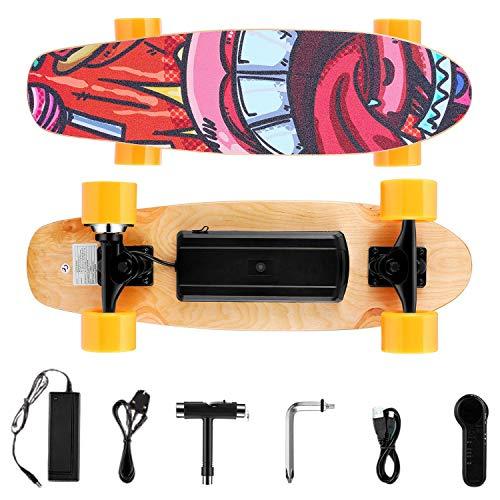 WOOKRAYS Elektro Skateboard E Skateboard mit Fernbedienung, 3-Gang Elektrisches Skateboard, 350W 29.4V 2200 mAh Lithium-Batterie, 7 Schichten Ahornplatte Erwachsene Elektromotor Skateboard