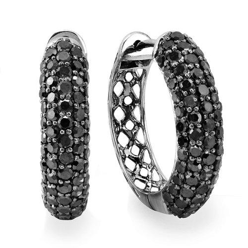 DazzlingRock Pendientes de aro de oro blanco de 10 quilates con diamantes redondos negros para hombre (3,50 quilates, color negro, claridad opaca)