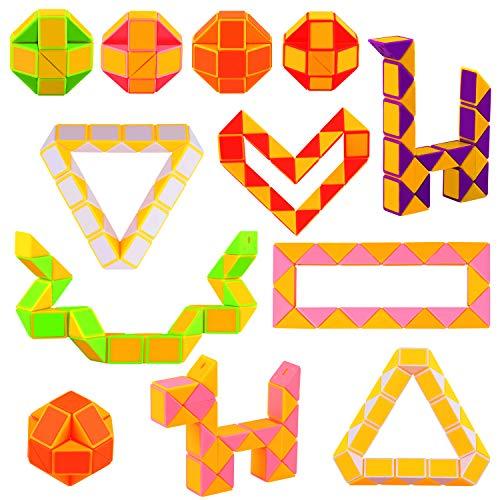 Sunshane 12 Stück 24 Blöcke Mini Schlangen Würfel, Magische Schlange Geschwindigkeit Würfel, Twist Puzzle Spielzeug für Kinder Party Bag Füllstoffe, Party Supplies, Zufällige Farbe