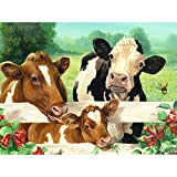 DIY 5D Diamond Painting Kits for Kids & Adults,Flowers and Cattle Crystal Rhinestone Diamond Embroidery Pictures Arts Craft for Home Wall Decor,Cow Crystal Diamond Art Kit 15.7X11.8in