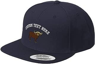 Custom Snapback Baseball Cap Water Buffalo Horn Embroidery Flat Bill Hard Hat