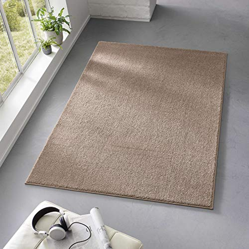Taracarpet Teppich Kurzflor weicher Designer Uni Bodenbelag Madrid fürs Wohnzimmer, Kinderzimmer, Schlafzimmer und die Küche geeignet Taupe 120x170 cm