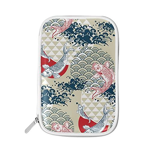 RXYY - Estuche para lápices, diseño de peces Koi Japón, con cremallera, para guardar lápices, papelería, bolsa de viaje, organizador de brochas y cosméticos, para escuela, niñas y niños