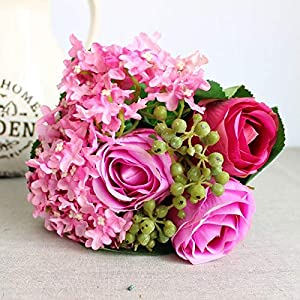 Artificial and Dried Flower Rose and Snowball Bunch Bride's Wedding Flower Silk Artificial Flowers Wedding Party Decoration
