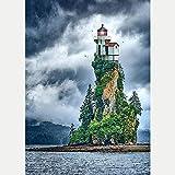 DIY 5D Diamante Pintura Completo Kits Pinturas por Numeros, Bordado Punto de Cruz Manualidades Cabaña Sea Island Art para Decoración de Pared del Hogar Regalos para adultos y niños 30 * 40cm