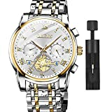 OLEVS Watch Mens Big Face 2 Tone Stainless Steel Wrist Watches White Face Chronograph Easy to Read Watches for Men Luxury Casual Classic Quartz Analog Dress Wristwatch Men's,relojes de Hombre