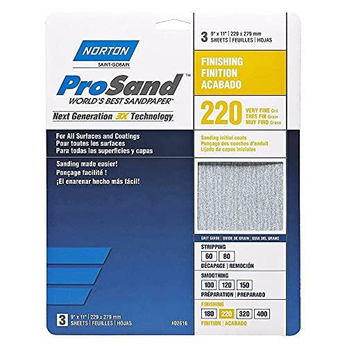 Norton Co. 2616 Norton 02616 3X Handy Aluminum-Oxide Sandpaper 220 Grit, 9 x 11-Inch, 3-Pack