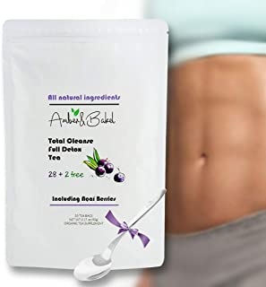 28 + 2 Free Day Total Cleanse, Full Detox Teatox Bags | All Natural Herbal Ingredients + Dried Acai Berries | Weight Loss Tea | Reduce Bloating and Optimize Your Body | Branded Spoon for Free