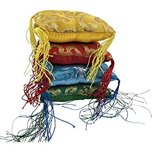 Customer reviews OSVINO 2Pcs Handmade Nepal Tibetan Singing Bowl Cushion Square Pillow Décor with Tassels Random Color, 10x10x3.2cm