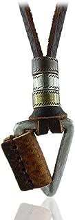 Rock Jewelry Triangel Pendant Men Women Genuine Leather Necklace Adjustable Leather Rope