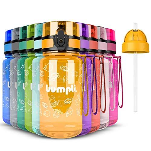 bumpli ® Gourde Enfant sans BPA - 350ml - Gourde Paille efant - Bouteille d'enfant pour la Maternelle, l'école, Les Excursions (Jaune)