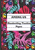 Among US: Handwriting Practice Paper for Kids A4, TROPICAL GRAPE, Preschool lined notebook or Kindergarten Workbook. Blank lined pages With Dotted ... Learning to Write Letters and numbers.