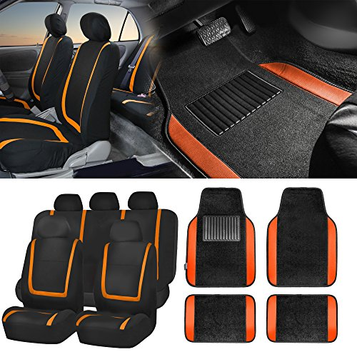 FH Group FH-FB032115 Unique Flat Cloth Seat Covers w. F14403BLACK Carpet Floor Mats, Orange/Black Color- Fit Most Car, Truck, SUV, or Van