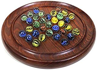 "Classic 9"" Wooden Handmade Marble Solitaire Game Coffee Table Board Game Set with 33 Glass Balls Pegs Indoor Vintage Entertainment"