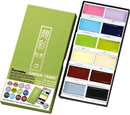 Kuretake GANSAI TAMBI Watercolor 36 Colors Set, Handcrafted, Professional-Quality Pigment Inks for Artists and Crafters, AP-Certified, Blendable, Show up on Dark Paper, Made in Japan