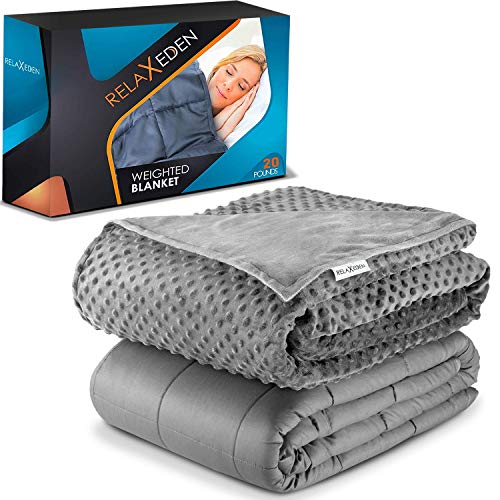 """RELAX EDEN Adult Weighted Blanket W/Removable, Washable Duvet Cover  20 lbs, 60""""x 80"""" Size  Heavy Glass Micro-Beads  Supreme Sleeping Comfort for Adults  Hot & Cold Sleeping  100% Soft Cotton Build"""