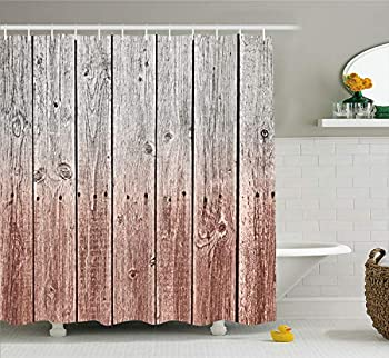 Ambesonne Rustic Shower Curtain Wood Panels Background with Digital Tones Effect Country House Image Cloth Fabric Bathroom Decor Set with Hooks 70  Long Redwood Grey