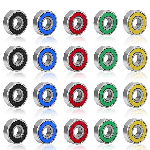Rybtd Roulements de Skateboard ABEC 9, 20Pcs Roulements à Billes en Métal Double Blindage 8mm x 22mm x 7mm Miniatures Roulement 608 RS pour Skateboard, Roller, Rollers