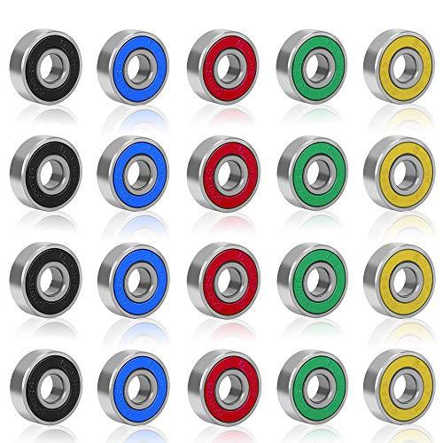 Rybtd 20 piezas Rodamientos de bolas Color sin fricción ABCE-9 608 2RS Rodamientos de Skate de metal para patinetas Patines de cuatro ruedas Ruedas