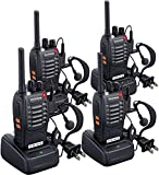 BAOFENG Walkie Talkies Long Range Rechargeable FRS Two-Way Radios with Earpieces UHF Handheld Walkie Talkie Set 4 Pack for Adults or Kids Outdoor Job Travel Communication