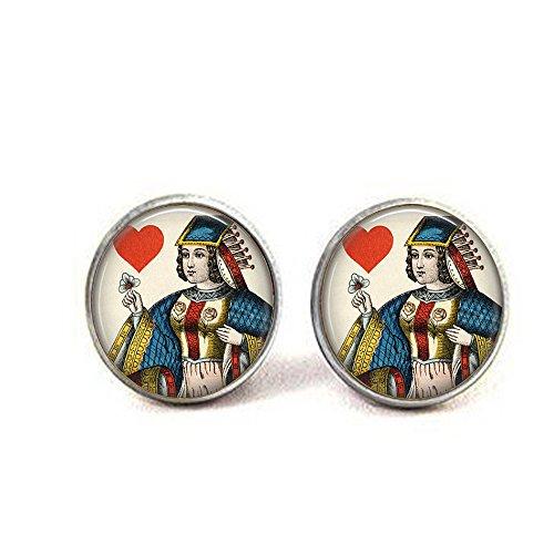 nijiahx Queen of Hearts Ohrringe, Vintage-Spielkarten-Schmuck, Queen of Hearts Ohrringe, Kartenspieler-Geschenk, Gambler-Geschenk