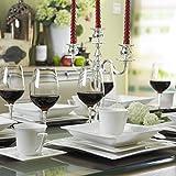 MALACASA, Serie Carina, 60 tlg. Cremeweiß Porzellan Geschirrset Kombiservice Tafelservice mit je 12 Kaffeetassen, 12 Untertassen, 12 Dessertteller, 12 Suppenteller und 12 Flachteller - 3