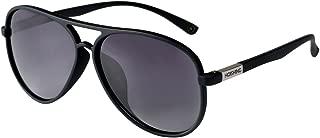 Hoishing Polarized Retro Aviator Sunglasses for Women Men UV 400 Protection Plastic Frame with Metal Dark Lens Round Lenses