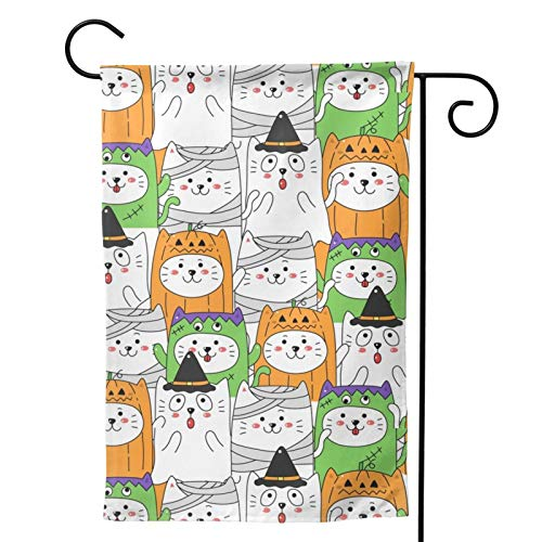 Hangdachang Bonita bandera de jardn de Halloween para disfraz de gato, vertical, duradera, doble cara, decoracin personalizada para exteriores  2 tamaos 30 x 45 cm
