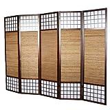 PEGANE Biombo japonés de Madera con bambú de 5 Paneles