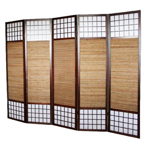 PEGANE Paravent Japonais en Bois avec Bambou de 5 Panneaux
