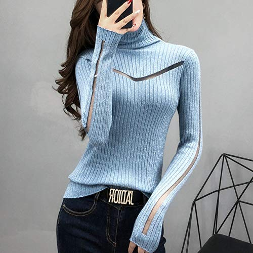 EIJFKNC Jersey de cuello alto delgado para mujer, manga larga, sexy, cultivar la perspectiva moral, hilo de empalme de seda brillante, azul, M