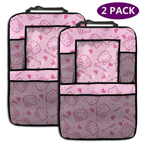 TBLHM Hello Kitty Lot de 2 Sacs de Rangement pour siège arrière de Voiture avec Support pour Tablette Rose