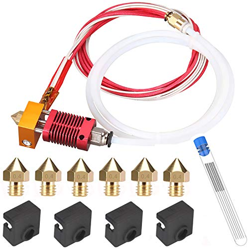 Kit de buse pour imprimante 3D MK8 Hotend Kit Compatible avec Alfawise U20 U30 Creality Ender 3 Kit d'extrémité chaude d'extrudeuse MK8 assemblé avec buse 0,4 mm, 24V 40W