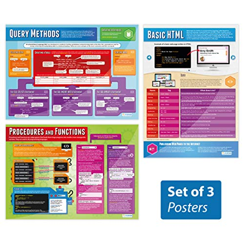 Programming Posters - Set of 3   Computer Science Posters   Laminated Gloss Paper Measuring 33� x 23.5�   STEM Posters for The Classroom   Education Charts by Daydream Education
