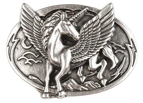 Unbekannt Einhorn Gürtelschnalle Buckle Einhorn Pferd Flügel : Pferd mit Flügel - Grösse ca: 7,8 x 6,4 cm - für Gürtelbreite: 40 mm